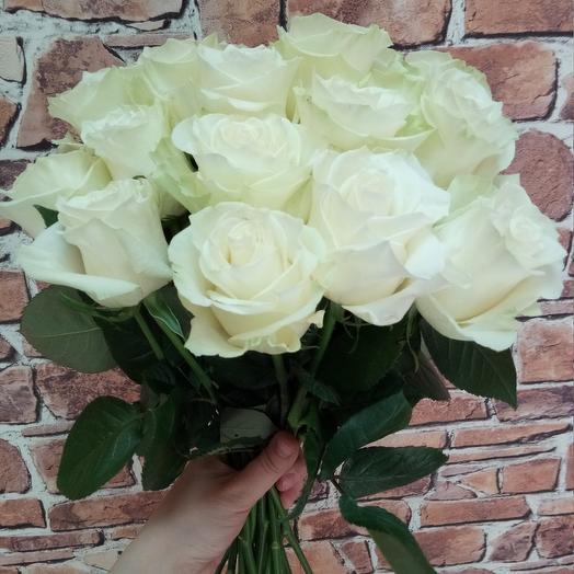 Белые розы, 15 шт: букеты цветов на заказ Flowwow
