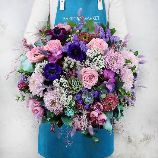 Букет из роз и хризантем - Бархатное облако