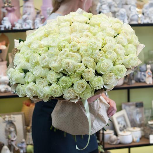Букет из 101-й бнлой розы премиум класса: букеты цветов на заказ Flowwow