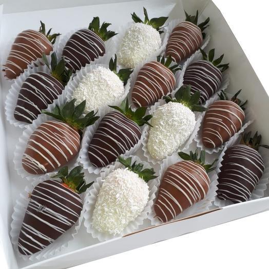 Клубника в шоколаде 16 шт 1: букеты цветов на заказ Flowwow