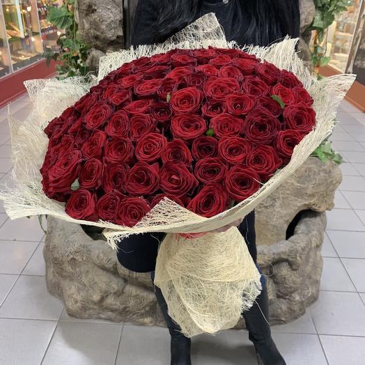 Букет из 101 красной розы 70 см: букеты цветов на заказ Flowwow