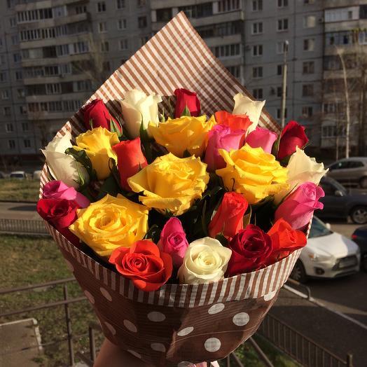 25 разноцветных роз🌹: букеты цветов на заказ Flowwow