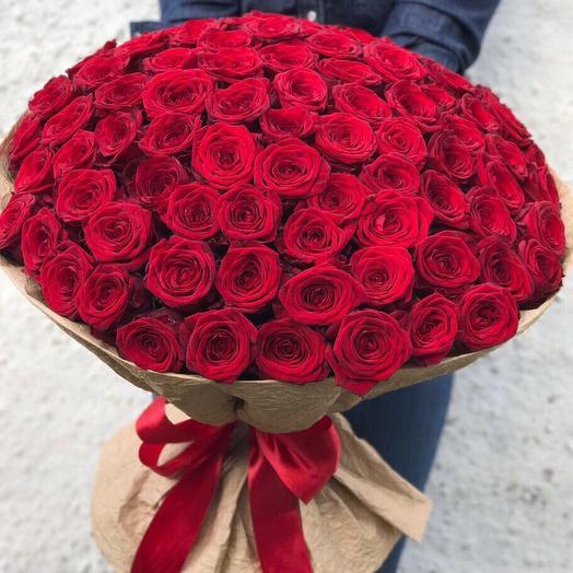 Красные розы 101 шт: букеты цветов на заказ Flowwow