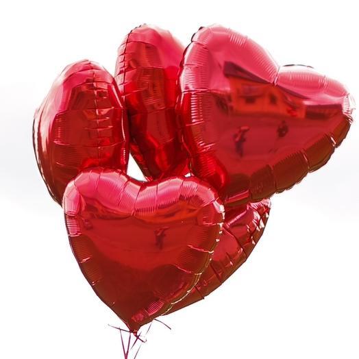 Набор из 5 фольгированный сердец (диаметр шара 45 см)