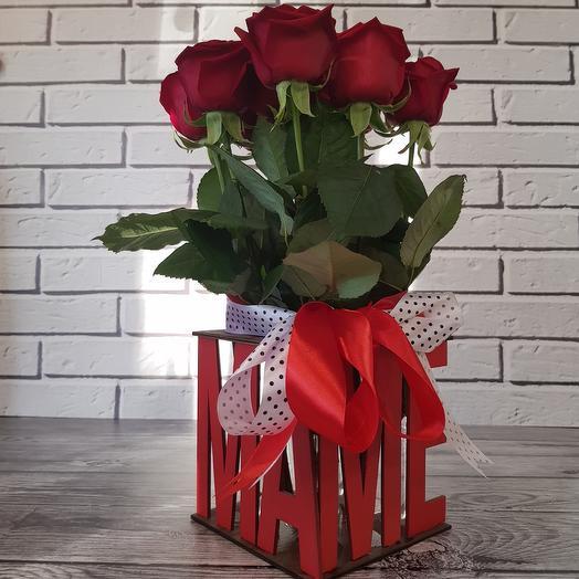 Розы в боксе с колбами(с водой)МАМЕ