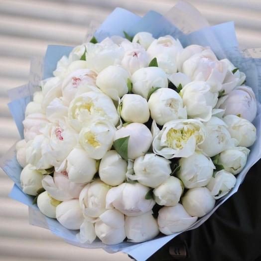 51 белый пион: букеты цветов на заказ Flowwow