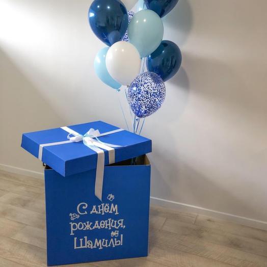 Синяя коробка - сюрприз: букеты цветов на заказ Flowwow