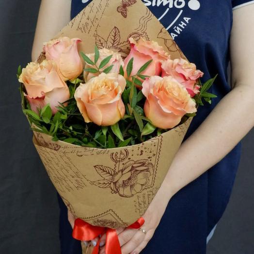 """Букет """"Фламенко"""" оранжевые розы"""