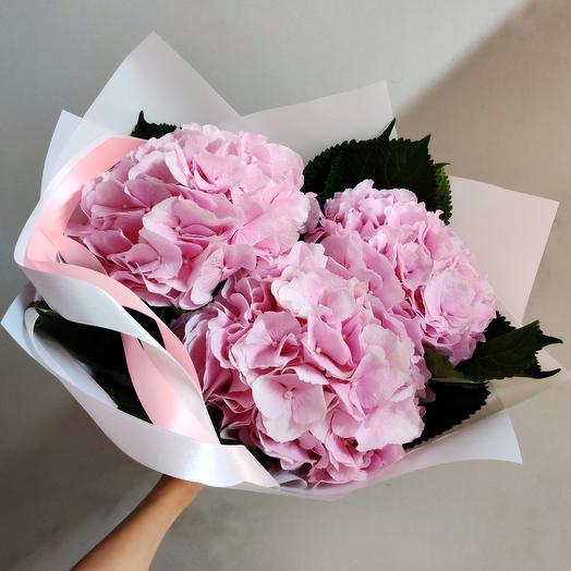 3 розовых гортензии