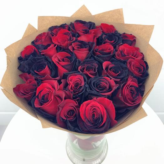 Черно-красные розы ЭКСКЛЮЗИВ