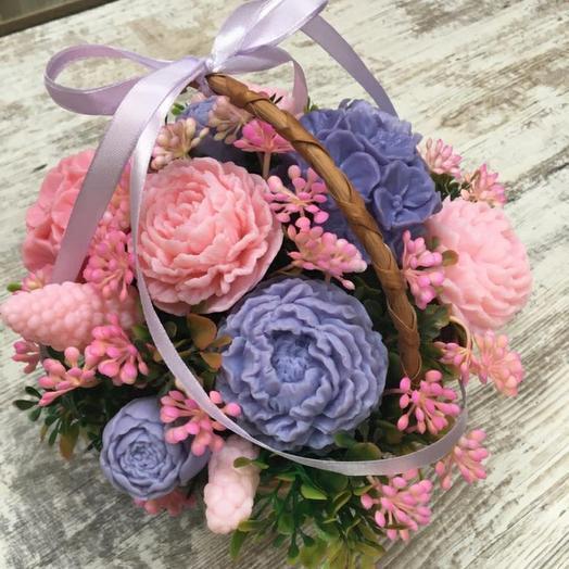 Корзинка с цветами из мыла ручной работв