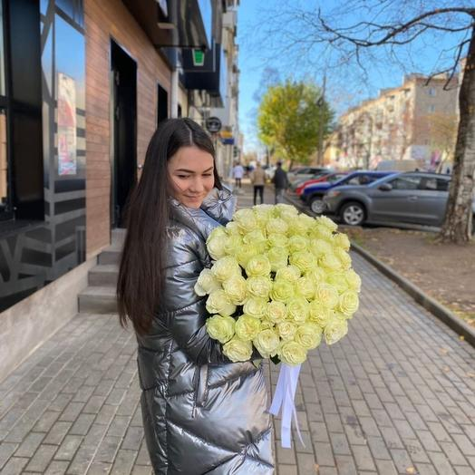Букет из 51 Белой розы Эквадор 60см