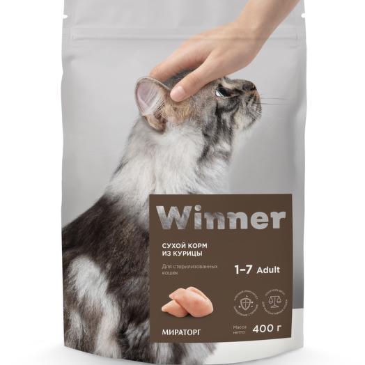 Winner полнорационный сухой корм для стерилизованных кошек из курицы 400 г