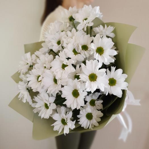 Нежный букет из 5 белых хризантем