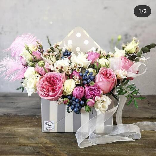Цветы в коробке конверт
