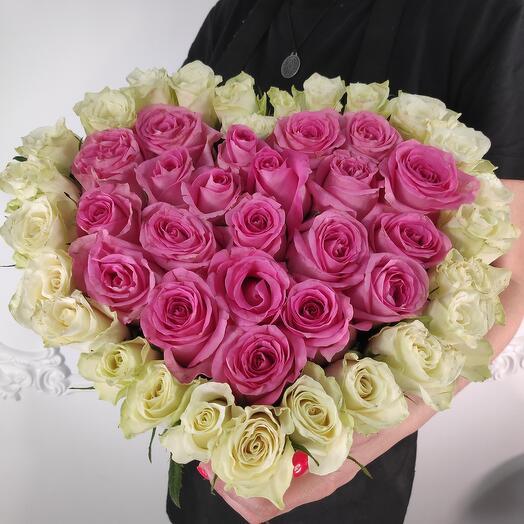"""Коробка из роз премиум микс """"Сердце"""""""