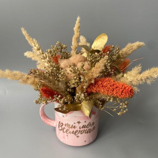 Кружка с сухоцветами «Ты моя вселенная»
