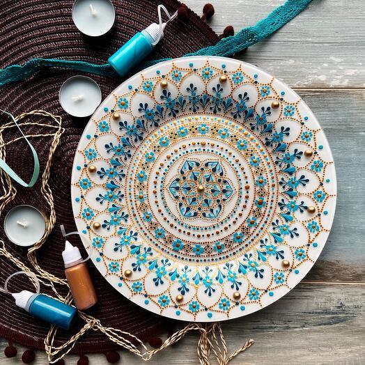 Набор для росписи стеклянной тарелки NESTbase «Незабудка»