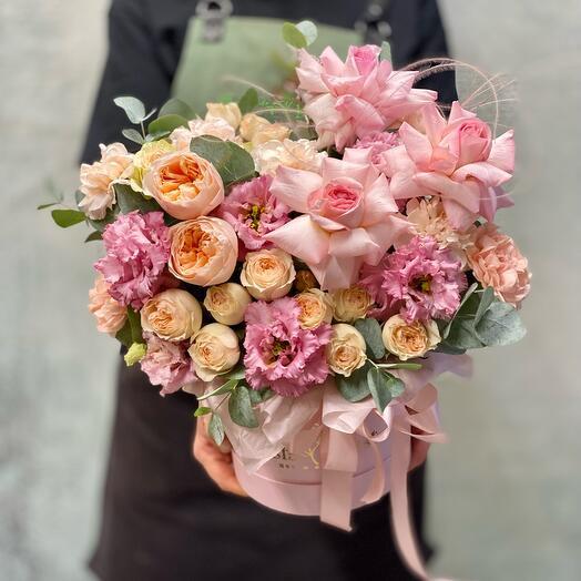Композиция с пионами и розой Джульетта «Сахарный нектарин 🍑 с