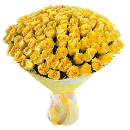 Букет из 101 желтой розы: букеты цветов на заказ Flowwow