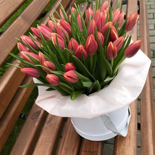 Тюльпаны в коробочке: букеты цветов на заказ Flowwow