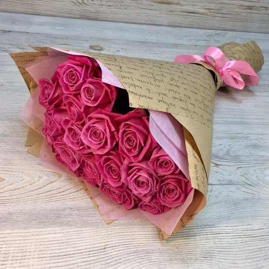Розы. Букет из 19 розовых роз. N17