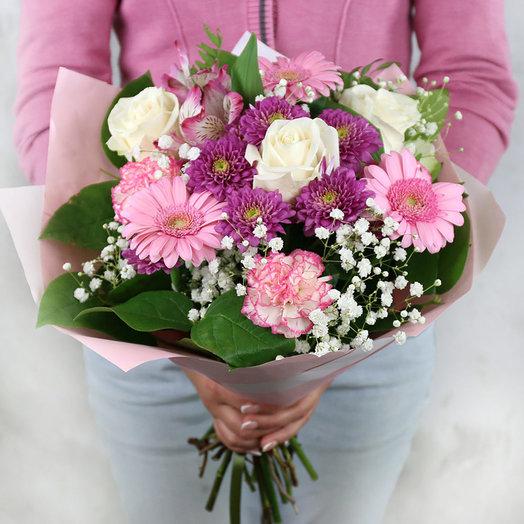 Букет из гербер роз и гвоздик в упаковке: букеты цветов на заказ Flowwow