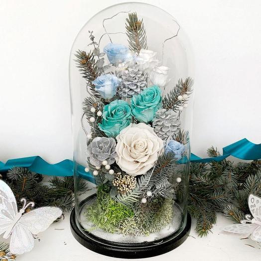 """НОВОГОДНЯЯ КОМПОЗИЦИЯ """"ЗАСНЕЖЕННЫЕ УЛИЦЫ"""": букеты цветов на заказ Flowwow"""