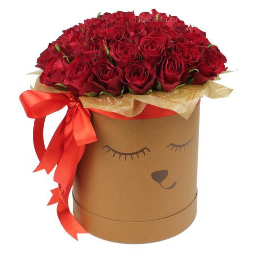 """51 красная роза """"Мишка"""": букеты цветов на заказ Flowwow"""