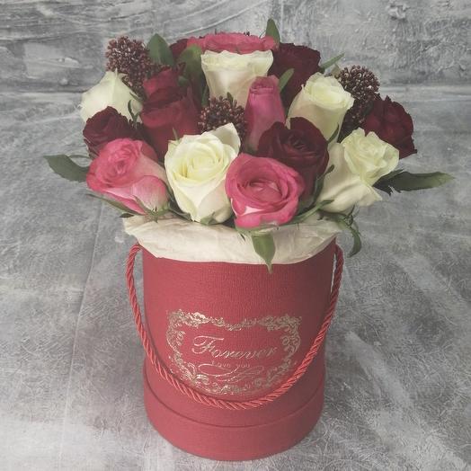 Приятный сюрприз. Роза в шляпной коробке: букеты цветов на заказ Flowwow
