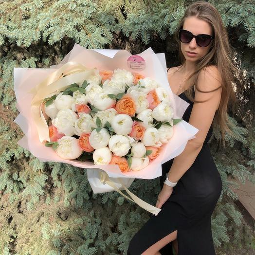 Волнительный букет пионов: букеты цветов на заказ Flowwow