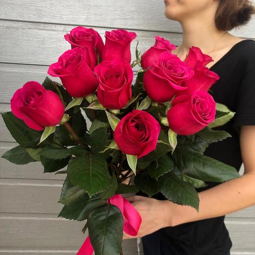 "11 розовых роз ""Знак Внимания"": букеты цветов на заказ Flowwow"
