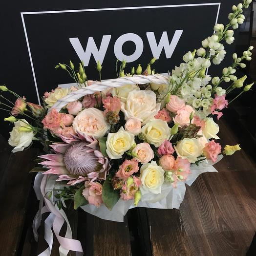 "Корзина цветов ""Ванильное волшебство"": букеты цветов на заказ Flowwow"