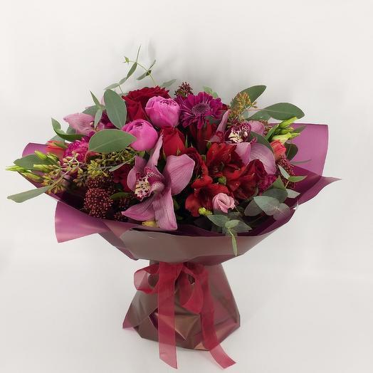 Букет с орхидеями и пионовидной розой: букеты цветов на заказ Flowwow