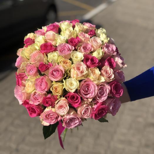 Букет из 63 роз микс в светло-розовых тонах: букеты цветов на заказ Flowwow