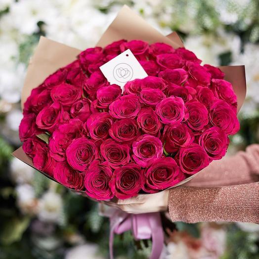 Классический букет из 25 Эквадорских Роз Pink Floyd: букеты цветов на заказ Flowwow