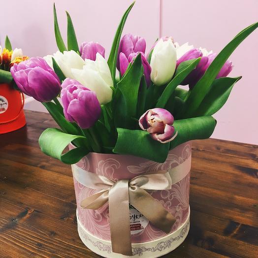 Коробка тюльпанов любимой