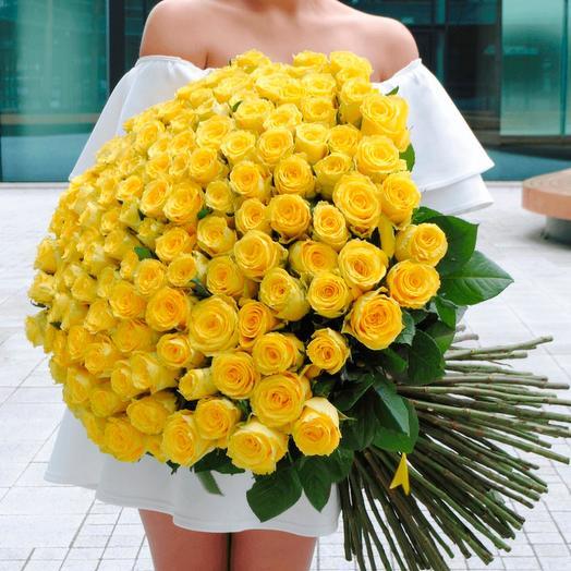 101 желтая роза (70 см)