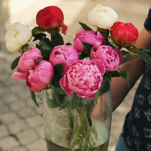 Охапка из 9 пионов микс: букеты цветов на заказ Flowwow
