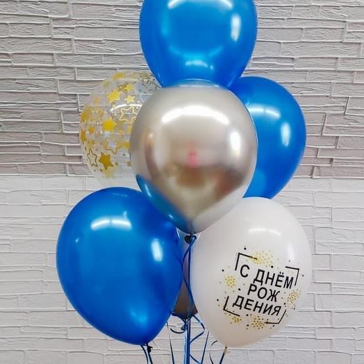 Гелиевые шары фонтан С днем рождения 7 шаров