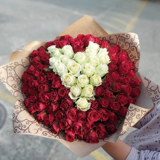 """Букет """"101 роза сердцем"""""""