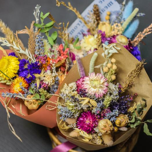 Bouquet of dried field flowers with lavender