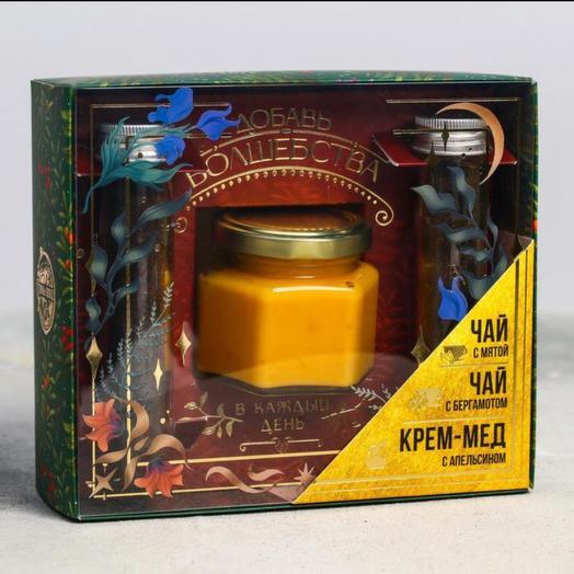 Подарочный набор «Волшебства», чай чёрный, мята и бергамот, 2 шт. х 42 шт., крем-мёд, с апельсином, 120 г