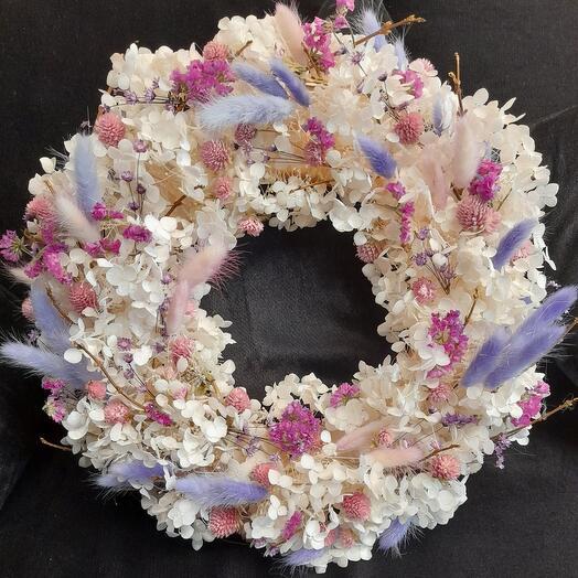Венок подвесной из стабилизированных цветов