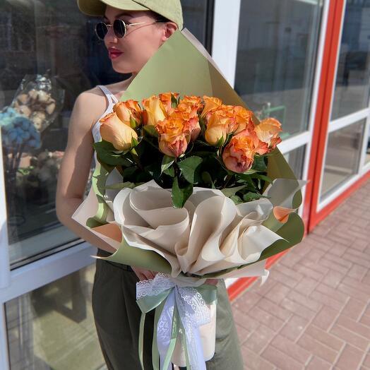 Огненный букет роз