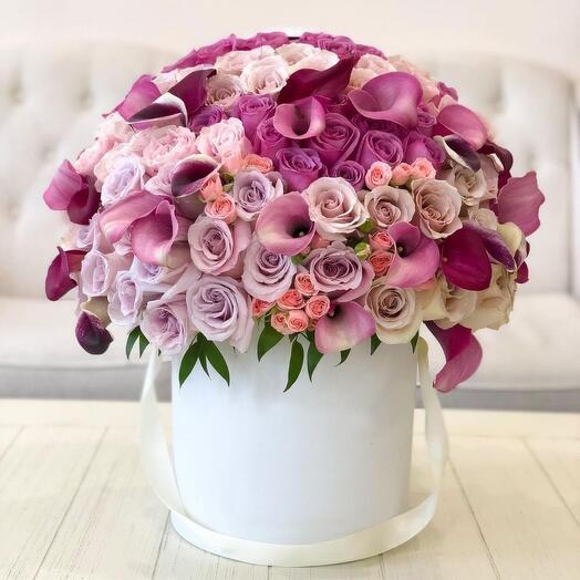 Luxe цветы в коробке