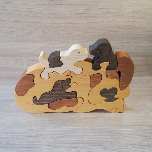 """Деревянный пазл из кедра ручной работы """"Собачья семья"""", 13 элементов"""