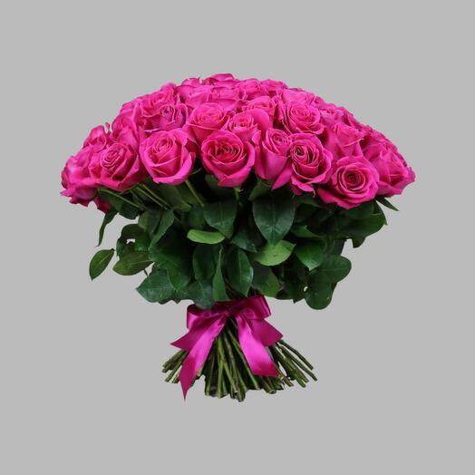 Букет из розовых эквадорских роз 70 см