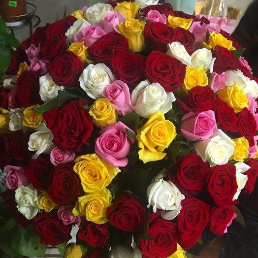 101 разноцветная роза 40 см