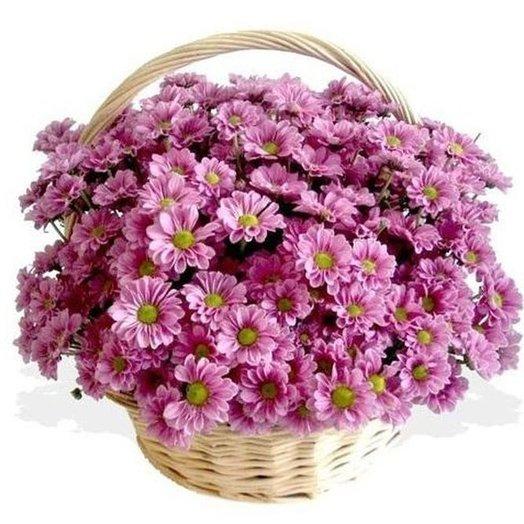 """Корзина """"Розовые облака"""" из кустовых хризантем. Код 1800: букеты цветов на заказ Flowwow"""